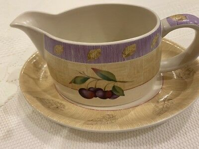 Marks And Spencer Wild Fruits Gravy Boat And Stand