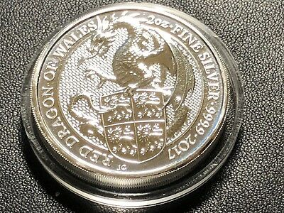 Royal Mint The Queens Beast 2017 The Red Dragon 2oz silver Bullion Coin .