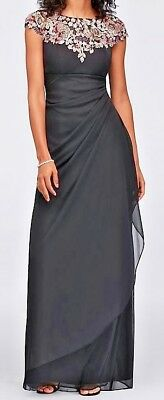 NWT Davids Bridal Xscape Dress 16W Mother of Bride Groom Black Floral 872X $219