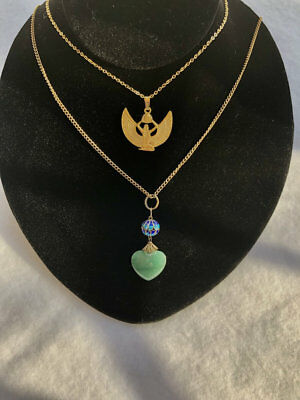 Two Egyptian Revival Style Necklaces Isis & Jade Enamel Heart Pendant Necklace