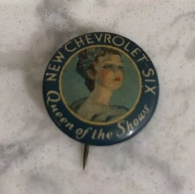 """1930's """"New Chevrolet Six Queen of the Shows"""" Pin pinback button Vintage Auto"""