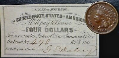 1861 Civil War CONFEDERATE $4 CSA Interest Note + 1864 Indian Head Cent Coin  NR