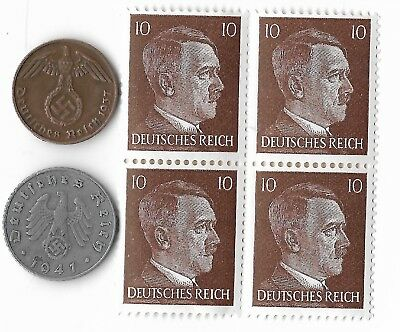 Rare Old WWII WW2 Germany Coin Stamp Great Vintage World War Collection Lot Sale