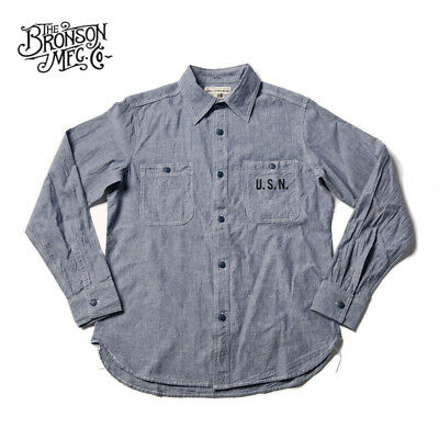 Vintage 1900s Cotton & Linen Shirt Men's Stripes Chambray Work Shirts Bronson