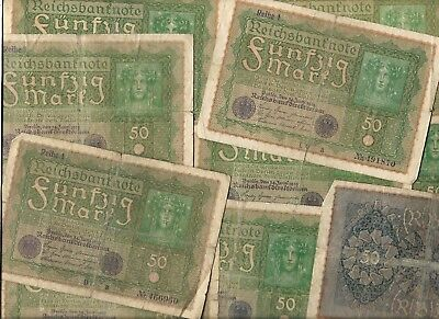 100 Years Rare Old Post WWI War Berlin 50 Mark Note Germany Money Collection Lot