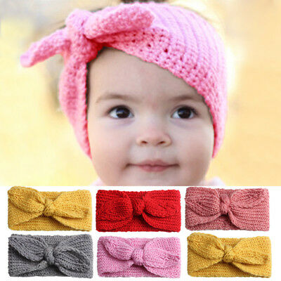 Baby Infant Girl Headband Knitted Newborn Bows Hairband Turban Head Warm Crochet