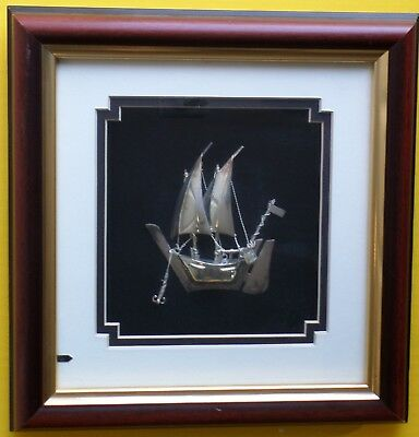 .925 Sterling Silver Sailing Ship in a Frame Handmade REAL Pure 925 marking