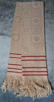 Antique Pr French Heavy Ecru Linen Fringed Towels Red Chain Link Stripes Unused