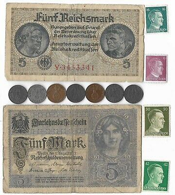 13 Rare Old WWII Germany Great War Note Coin Stamp WW2 Collection Reichsmark Lot
