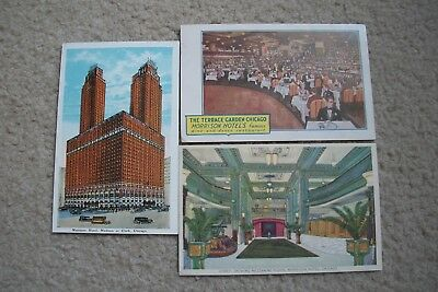 Three 1920's Morrison Hotel Chacago Postcards