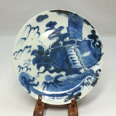 B678: Japanese plate of really old KO-IMARI blue-and-white porcelain with dragon