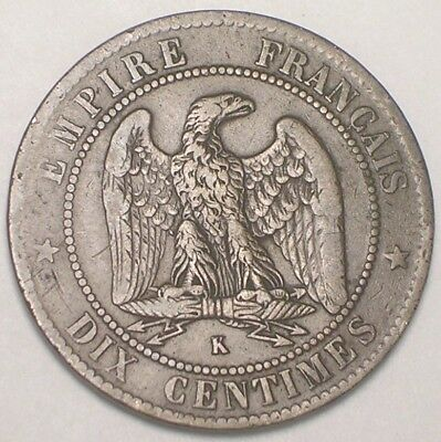 1853 K France French 10 Centimes Napolean Eagle Coin F