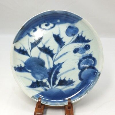 B674: Japanese plate of really old KO-IMARI blue-and-white porcelain in 18c