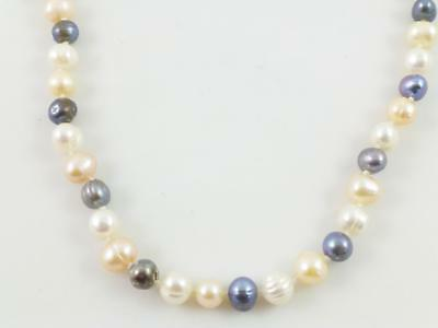 White Pink Rainbow Cultured Pearl Beaded String Necklace 64""