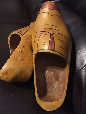 Vintage Pair Hand Carved Wooden Dutch Clogs Klompen Shoes Solid Wood Handmade