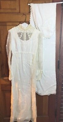 Vtg Wedding Dress 60s 70s Sheer Long Sleeve Daisy Floral Bridal Gown USE PATTERN
