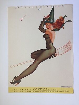 PETTY - OCT  1947  art illustrated  PIN-UP/CHEESECAKE  model  CALENDER  page