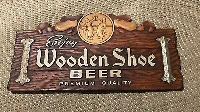 Vintage 1940's Wooden Shoe Beer - Brewing Co Composition Sign Minster Oh Ohio