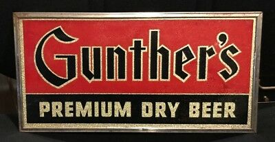 Vintage Gunther Beer - Brewing Co Rog Reverse On Glass Sign Baltimore Md
