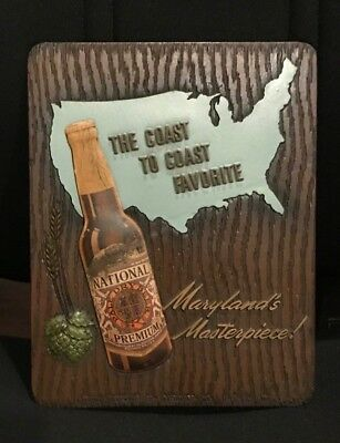 Vintage 1940's National Premium Beer - Brewing Co Composition Sign Baltimore Md
