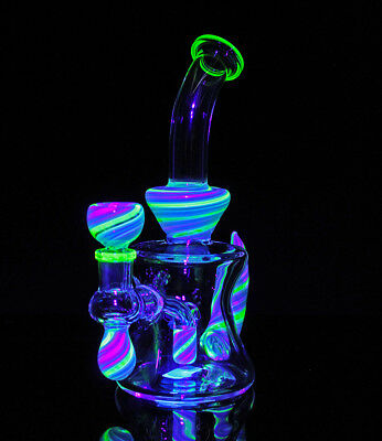 Candy Tail Water Pipe (UV BLUE & 8 inch) Glass Bong Smoking Pipe Glass Bowl