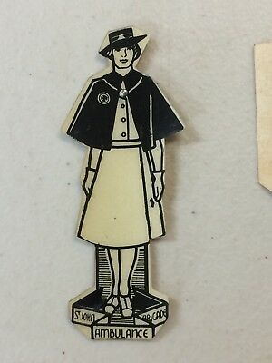 WW2 St John Ambulance Brigade Appeal Day Card Badge Pin Female Officer