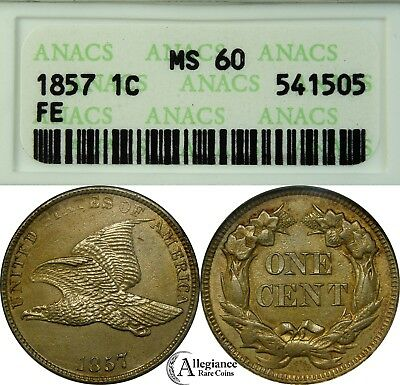 1857 1c Flying Eagle Cent ANACS MS60 BU MS Uncirculated rare old type coin penny
