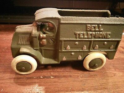 Antique HUBLEY ?? Cast Iron BELL TELEPHONE TRUCK Antique Toy Truck REPRODUCTION?