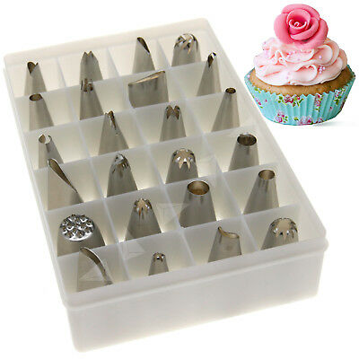 FI 24Pcs Cup Cake Craft Decorating Icing Piping Nozzles Tips Pastry Set LB