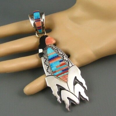 Big Navajo Sterling Corn Maiden Turquoise Pendant > 4 Inch Signed