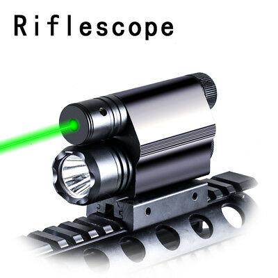 New Green Laser Sight 3 Mode LED Flashlight Combo Tactical Fit 20mm Rail Mount