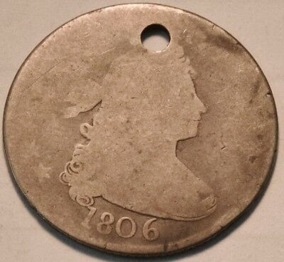 1806 Draped Bust Quarter, Scarce Type Coin, Holed, Nice Filler, Silver 25C