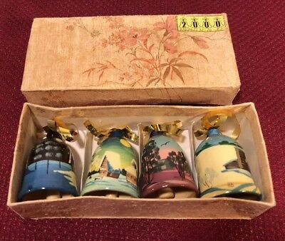 Collection Of 4 Hand Painted Wood Bells 2000  w/ numbers see up close Asian