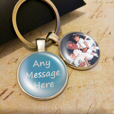 Personalised Photo Keyring Any Message Mum Fathers Day Birthday Presents Gifts