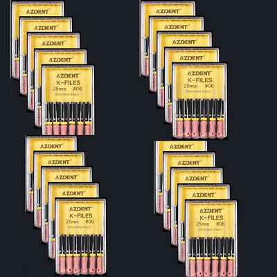 100 Pack Dental K-File 06#,25mm Hand Use files Endodontic Instruments AZDENT