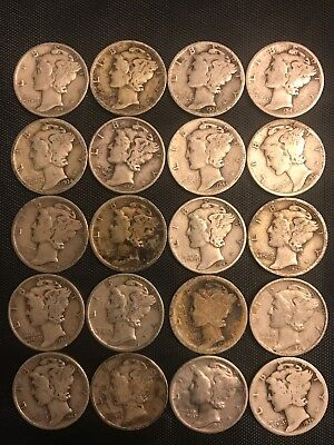 90% Junk Silver, Mercury Dimes, $2.00 Face Value, Free Ship