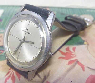 RARE 1968 Hamilton 17J Gents SEA BEACH III Sporty Stainless CLEAN Dial & Case!!