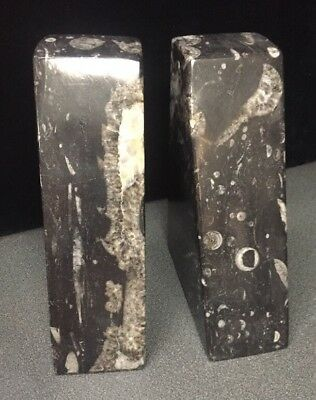 Pair Of Black & White Marble Bookends (SH5)