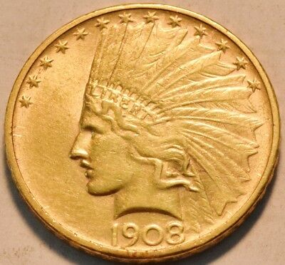 1908 D NO MOTTO $10 Gold Indian Eagle, Scarce High Grade Type Coin Ten Dollar