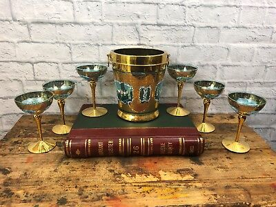 MURANO ITALIAN HAND PAINTED 24K WINE GLASS Bucket SET 7 Pc