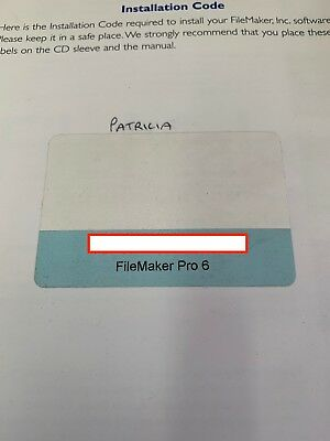 Filemaker Pro 6 Database Program for Mac OSX 10.6.8 - Serial Numbers only