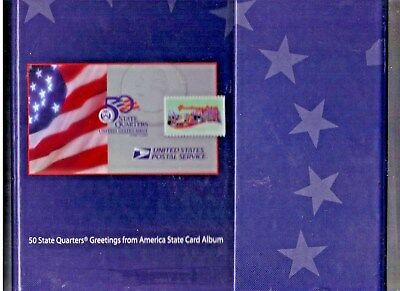 50 State Quarters Greetings from America Card Album + Stamps Complete 1999 -2008