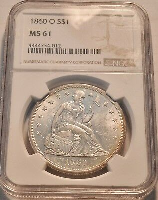 1860 O $1 NGC MS 61 Seated Liberty One Dollar, Bright Lustrous Silver PQ Coin