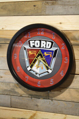 50's Ford Emblem Wall Clock Large 13 inch Non Ticking Sweep Hand Glass Exclusive