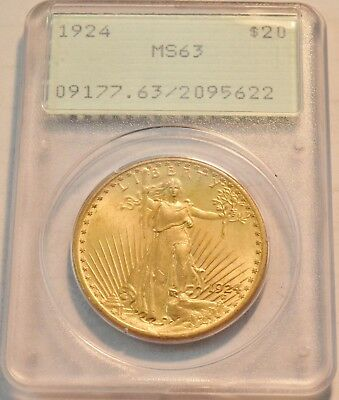 1924 $20 PCGS MS 63 Gold St. Gaudens Double Eagle OGH Rattler Uncirculated Saint