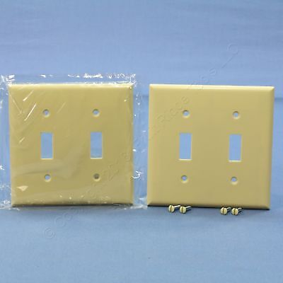 2 Cooper Ivory 2-Gang Toggle Switch Plastic Cover Wall Plate Switchplates 2139V
