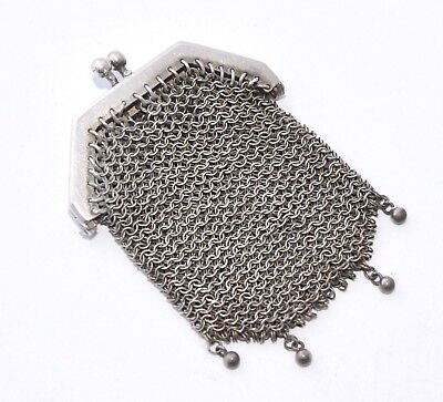 Antique French Sterling Silver and Mesh Coin Purse Double Compartment