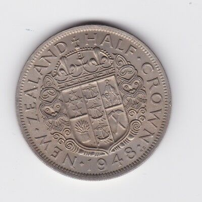 1948 New Zealand NZ Half Crown Coin Great Example F-175
