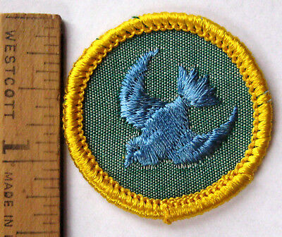 Rare 1963-70 Girl Scout Cadette Blue BIRD BADGE Animal Kingdom Aviary Patch NEW