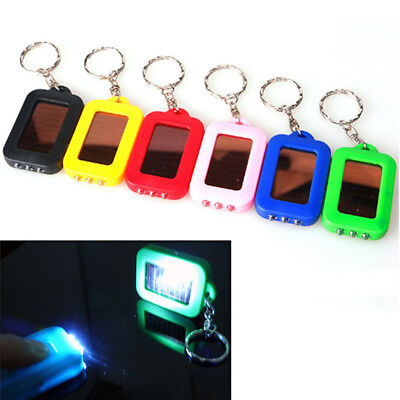 Mini Multi Solar Power 3LED Light Keychain Keyring Torch Flashlight Portable Hot
